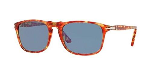 Persol PO3059S - 106056 Sunglasses TORTOISE RED w/ BLUE Lens ()