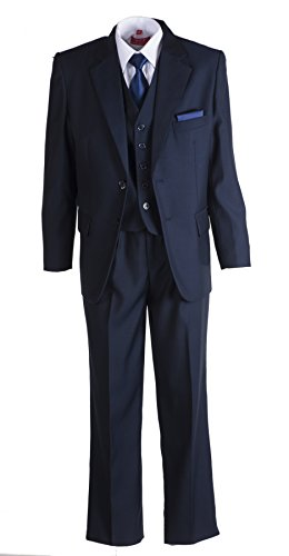 Boys Navy Blue 2 Button Suit With Navy Blue Neck Tie and Pocket Square - Holy Communion Suits