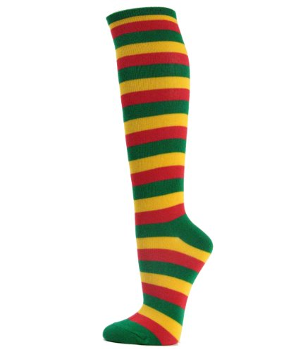(Couver Rasta Color (Green Yellow Red) Striped Knee High Fashion Casual Socks, 1 Pair )