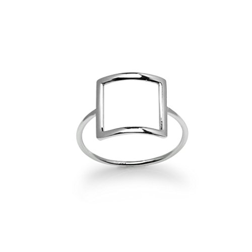 River Island Jewelry 925 Sterling Silver Exquisite Women or Girls Open Square Ring Size 9 (Island River)