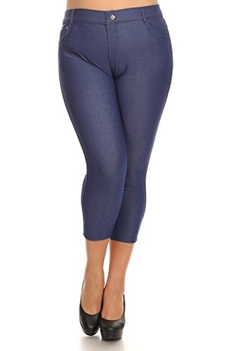 Belle Donne -Women's Pants Capri Jeggings Cotton Solid Colors-Denim Blu/2XL