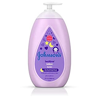 Johnson's Moisturizing Bedtime Baby Lotion with NaturalCalm Essences to Soothe and Relax, Hypoallergenic and Paraben-, Phthalate- and Dye-Free Baby Skin Care, 27.1 fl. oz