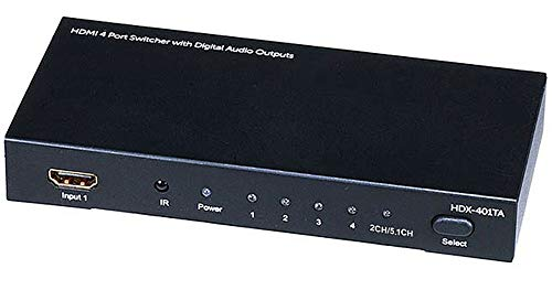 Monoprice 105557 4x1 HDMI Switch with Toslink, Digital Coaxial and 3D Support (Plasma Receiver Optical)