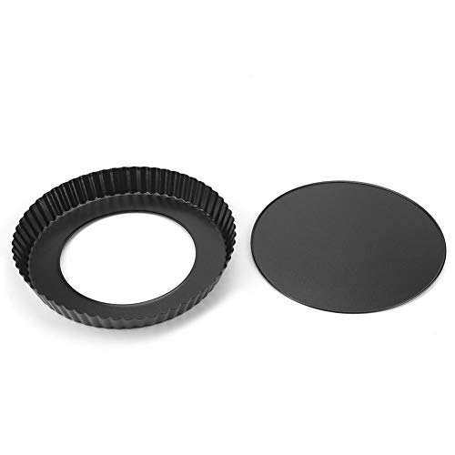 9 Inch Non-stick Pizza Bakeware Tart Pan with Removable Loose Bottom High Carbon Round Fluted Quiche Pie Pan for (Best 0 Tart Pans)