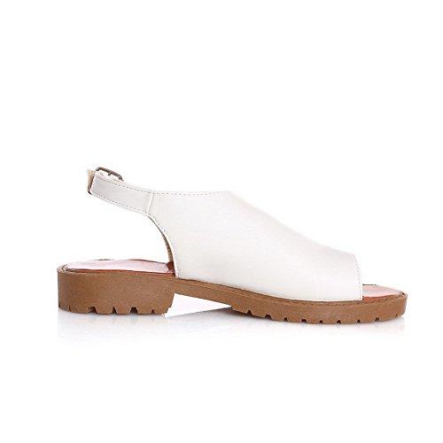 Amoonyfashion Kvinners Fast Pu Lave Hæler Splittet Tå Spenne Flip-flop-sandaler Hvite