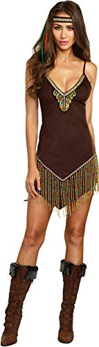Dreamgirl Women's Beautiful Native Beaded Suede Costume, Brown, X-Large (Native American Clothing Women)