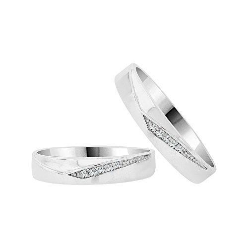 14k White Gold, Duo 2 Piece Matching Bands Ring Set Created CZ Crystals by GiveMeGold