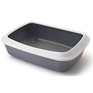 Savic Iriz Cat Litter Tray with Rim Retro Cold, Gray (17-inch)