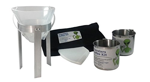 Travelers Coffee Kit (Pour Over Coffee Maker - Portable, Lightweight, Compact, Durable, For Camping, Backpackers, Nomads, Ethical Aliens Charity - Inexpensive - For Home and Hotel Coffee Alternative) (Pot Charity)