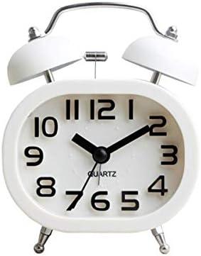 KEHUITONG 目覚まし時計、学生のベッドサイド時計、機械式時計、創造的な小さな目覚まし時計、静かな夜の光の怠惰なスヌーズ目覚まし時計、電池式 最新スタイル (Color : White)