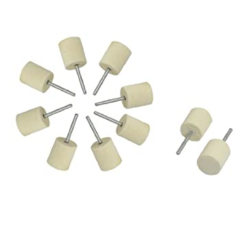 uxcell Electric Drills 18mm Cylindrical Head Felt Bobs 3mm Polisher Shank 10pcs