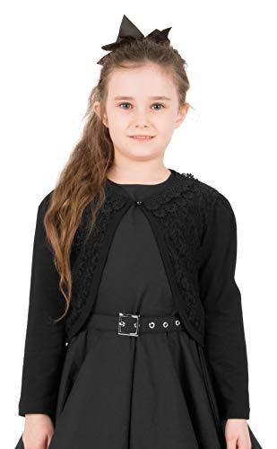 Long Sleeve Lace Bolero Cardigan Childrens Girls Shrug (Black, 5-6 YRS) ()