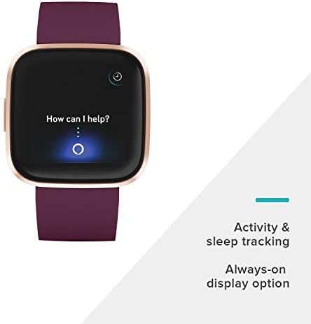 Fitbit Versa 2 Health and Fitness Smartwatch with Heart Rate, Music, Alexa Built-In, Sleep and Swim Tracking, Bordeaux/Copper Rose, One Size (S and L Bands Included) 31IZ32zLWuL