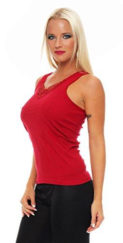 2 ropa interior Paquete mujeres con el número 430 de encaje (chaleco, camiseta, camisa) Negro / Rojo
