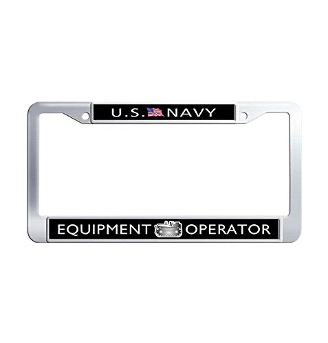 JiuznsFrame US Navy Equipment Operator License Plate Frame, Waterproof Metal Stainless Steel Auto License Plate Frame Holder with Screw Caps