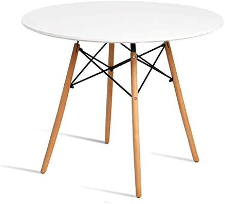 Chosimo Dining Table Round Coffee Table Modern Tea Kitchen Wooden Table Table Bar Table Glass Top With Natural Beech Wood Legs Buy Online At Best Price In Uae Amazon Ae