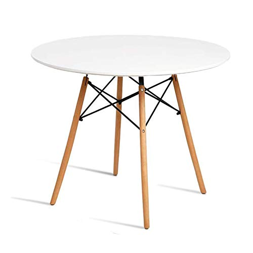 Chosimo Dining Table Round Coffee Table Modern Tea Kitchen Wooden Table Table Bar Table Glass Top with Natural Beech Wood Legs