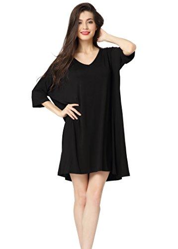 Aibrou Womens V-Neck Short Sleeve T-Shirt Dress Loose Nightshirt Sleepwear