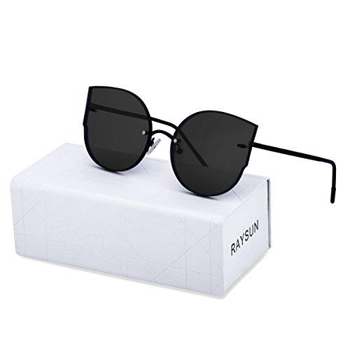 RAYSUN Women Cat Eye Mirrored Flat Lenses Sunglasses Rimless Trendy Frameless Fashion Metal Frame Cute Glasses - Glasses Trendy Cute