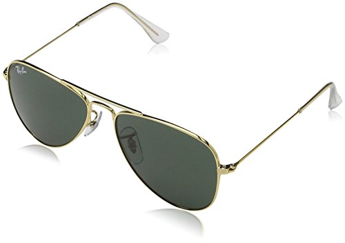 Ray Ban Jr. Boys Ray-ban Kids Aviator Junior, Gold Frame Green Lens, 50 - Rx Kids Sunglasses