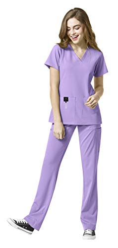 WonderWink HP Women's Medical Uniforms Scrub Set Bundle- 6112 Sync V-Neck Scrub Top & 5112 Hybrid Pull On Scrub Pants & MS Badge Reel (Orchid - Medium/Medium Petite)