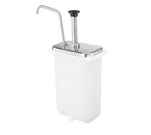 Server Products CP-F-83330 Fountain Jar Pump and Lid, Fits 3-1/2 quart Deep Countertop Base, Dispenses Thick and Particulate Toppings, 1-1/4 oz. Full Portion, Stainless Steel