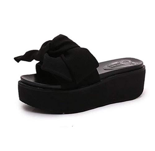 36 37 Plage De Oudan Rouge Pour Taille Noir Tongs À Femmes coloré Antidérapante Plateforme Rose Sandales Pantoufles D'été aawqA7