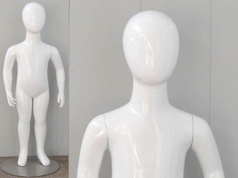 (MD-CW2YEG) ROXYDISPLAY™ Egg Head 2 years old Children's Mannequin with hands straight down. Base included by ROXYDISPLAY™