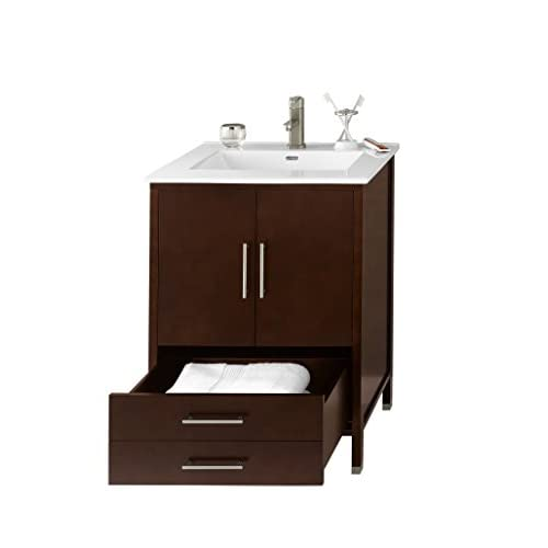 low-cost RONBOW Juno 25 inch Contemporary Bathroom Vanity Set in Dark Cherry, White Kara Bathroom Sink Top with Single Faucet Hole, Bathroom Cabinet with Metal Feet in Brushed Nickel Finish 039224-3-H01_Kit_1