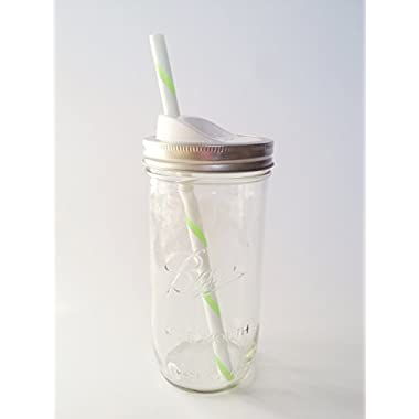 Mason Drinking Jar with Straw and Sip Lid - 24 oz., Green by Ball