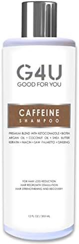 G4U Caffeine Shampoo for Hair Loss, Hair Growth and Thinning Hair. Natural Treatment with DHT Blockers for Men and Women. Caffeine Biotin Keratin Saw Palmetto Niacin Argan Oil. Sulfate Free. 12 oz.
