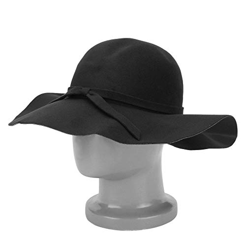 Stylish Vintage Women's Lady With Wide Brim Wool Bowler Fedora Hat Floppy Cloche Sun Beach Bowknot Cap
