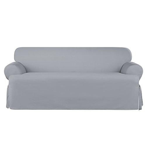 (Sure Fit Heavyweight Cotton Duck T-Cushion Sofa Slipcover - Pacific Blue (SF45588))