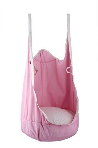KINSPORY Kids Hanging Pod Swing Chair Indoor Outdoor Hammock Swing Seat - Pink