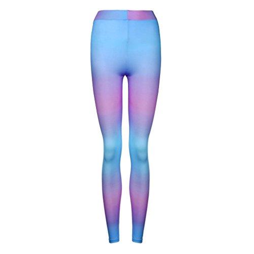 HARRYSTORE Mujer pantalones impresos de yoga Mujer pantalones deportivos y elásticos Pantalones ajustados de fitness Leggings Púrpura
