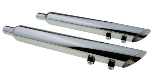 (Chrome Plated Steel Angle Cut Slip-on Harley Davidson Exhaust Pipe (For: Touring Models))