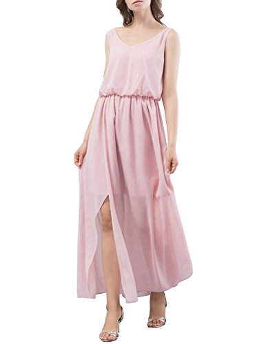 DRESSTELLS Long Bridesmaid Dress V-Neck Chiffon Prom Party Gowns With Side Split Blush Size 16