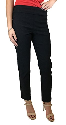 Discount Krazy Larry Women's Pull On Ankle Pants Black Jacquard hot sale