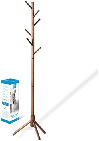 High-Grade Wooden Tree Coat Rack Stand, 6 Hooks – Super Easy Assembly NO Tools Required – 3 Adjustable Sizes Free Standing Coat Rack, Hallway Entryway Coat Hanger Stand for Clothes, Suits, Accessories