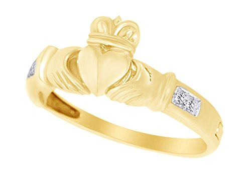 Mothers Day Jewelry Gifts White Natural Diamond Accent Love Forever Hidden Message Claddagh Ring in 14k 925 Sterling Silver