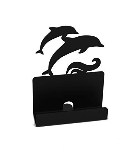 H&K Ocean Dolphin Metal Desktop Business Name Card Holder, Black]()