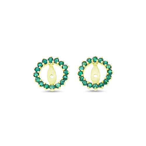 0.70CTW 14K Yellow Gold Genuine Natural Emerald Round Shaped Earrings - Womens Jacket Emerald