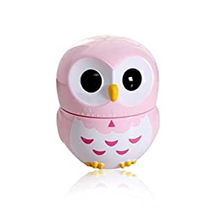 Huayoung Creative Owl Shaped Battery-free Mechanical Multifunctional Timers Bakeware Timers 4 Color Options (Pink)