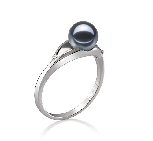 Tanya Black 6-7mm AAAA Quality Freshwater 14K White Gold Cultured Pearl Ring For Women - Size-7 by PearlsOnly (Image #1)