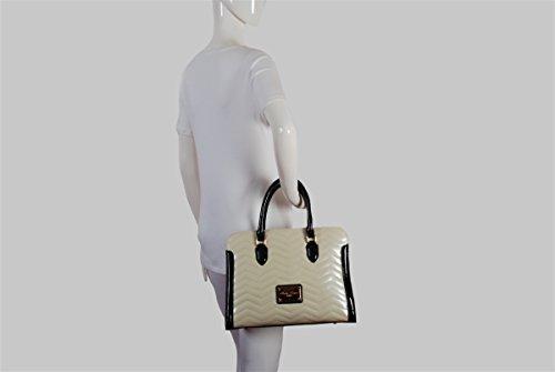 Creme und schwarz Patent Zwillings Mit griff Handtasche mit Chevron Muster Reißverschluss Oben von Claudia Canova 8fx1Io