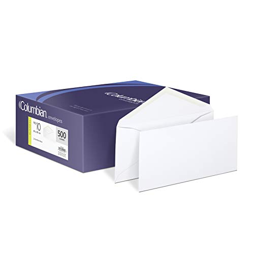 Columbian #10 Envelopes, Gummed Seal, Executive Business, 4-1/8 x 9-1/2 Inches, White, 500 Per Box (CO125) ()