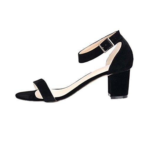 Sandal Flannel Dress HooH Strap Kitten Buckle Women's Ankle Black zzqYv0x