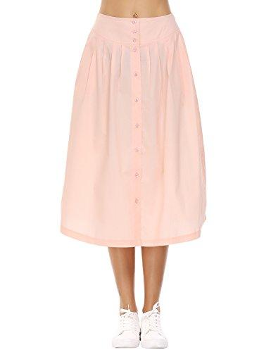Zeagoo Womens High Waist Swing A-Line Cotton Skirt Pleated Midi Skirt,Apricot,Small