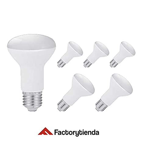 Pack 6 Bombillas LED R63, 8W,(equivalente a 80W), casquillo E27