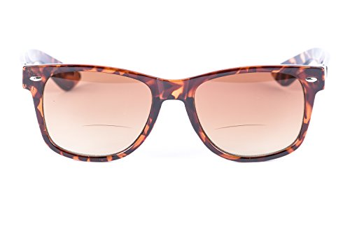 The Classic Sophisticator Wayfarer Bifocal Sunglasses - Outdoor Reading Sunglasses - Hard Case/Cleaning Cloth Included (Brown/Tortoise, 1.75 - Reading Sunglasses Ladies